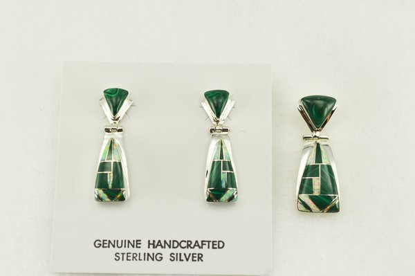 Sterling silver malachite and white opal inlay candy corn shaped earrings and pendant set. S194