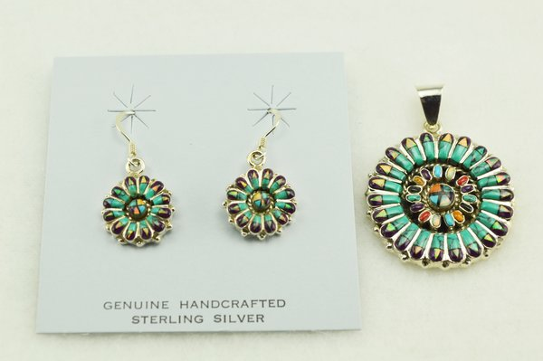 Sterling silver multi color inlay round earrings and pendant set. S152