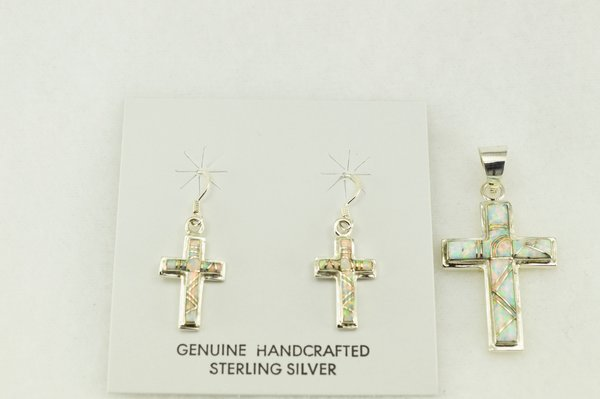 Sterling silver white opal inlay cross earrings and pendant set. S187