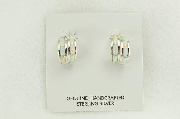 Sterling silver white opal inlay double hoop post earrings. E360