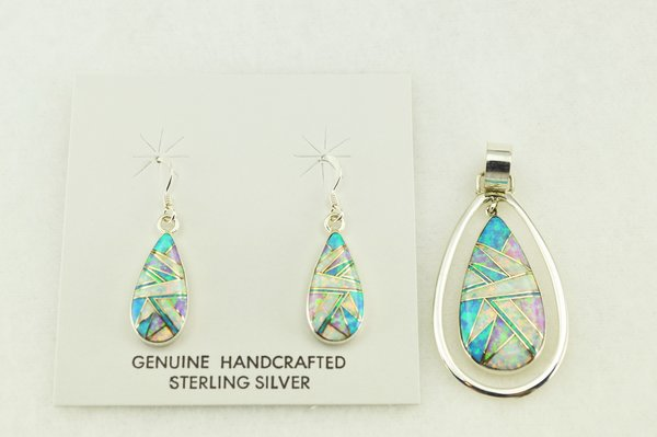 Sterling silver white, blue and pink opal inlay raindrop earrings and pendant set. S171
