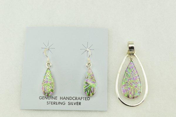 Sterling silver pink opal inlay teardrop earrings and pendant set. S181