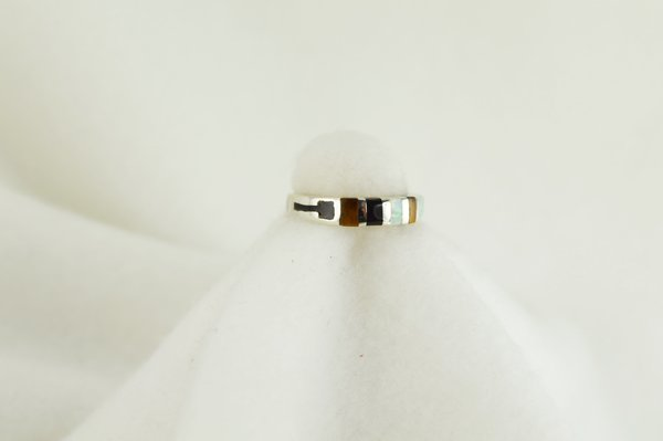 Sterling silver tiger eye, black onyx and white opal inlay ring. R049