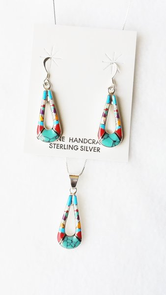 """Sterling silver multi color inlay hollow teardrop dangle earrings and 18"""" sterling silver box chain necklace set. S105"""