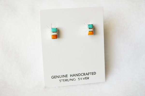 Sterling silver multi color inlay rectangle post earrings with opal. E183