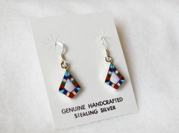 Sterling silver inlay multi color diamond shape dangle earrings. E088