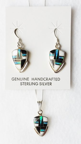 """Sterling silver blue opal, black onyx and howlite inlay arrowhead dangle earrings and 18"""" sterling silver box chain necklace set. S026"""