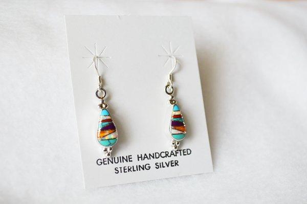 Sterling silver inlay multi color teardrop earrings. E094