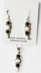 """Sterling silver white opal and black onyx 4 spot dangle earrings and 18"""" sterling silver box chain necklace set. S038"""