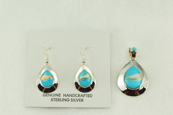 Sterling silver turquoise and white opal inlay raindrop shaped earrings and pendant set. S196