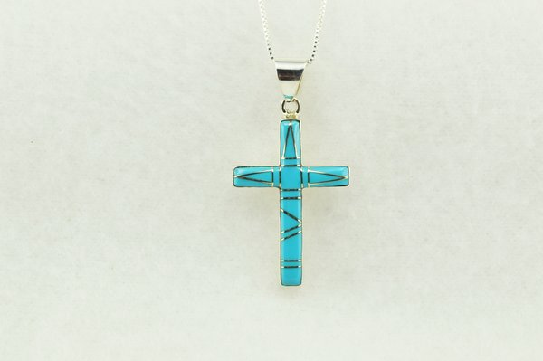 """Sterling silver turquoise inlay cross pendant with sterling silver 18"""" figaro chain. N211"""