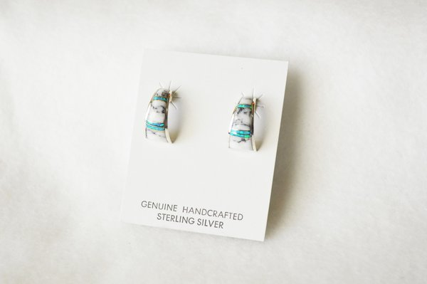 Sterling silver blue opal and howlite inlay medium/wider hoop post earrings. E319