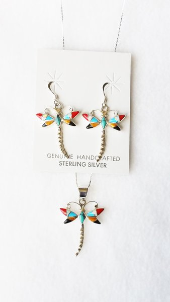"""Sterling silver multi color inlay dragonfly dangle earrings and 18"""" sterling silver box chain necklace set. S120"""