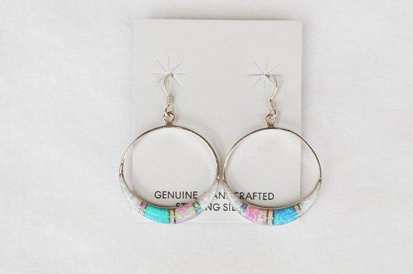 Sterling silver white, blue and pink opal hoop dangle earrings. E129