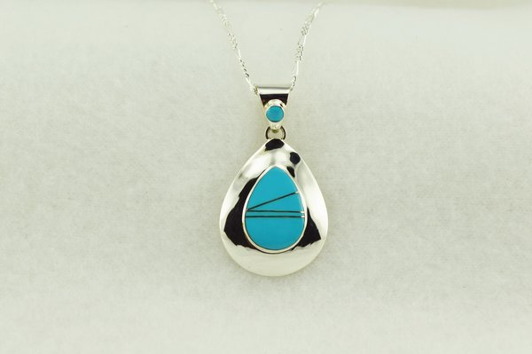 """Sterling silver turquoise inlay raindrop pendant with sterling silver 18"""" figaro chain. N203"""