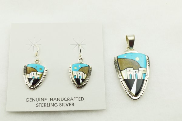 Sterling silver multi color inlay arrowhead shaped adobe style earrings and pendant set. S294