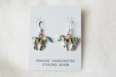 Sterling silver inlay multi color horse dangle earrings. E092