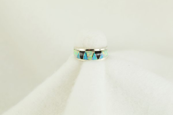 Sterling silver white opal, blue opal and black onyx inlay ring. R111