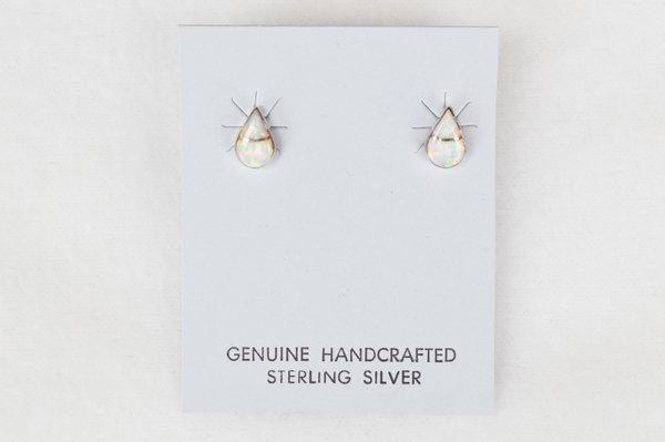 Sterling silver opal teardrop post earrings. (E027)