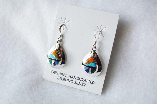 Sterling sivler multi color inlay medium teardrop dangle earrings. E207