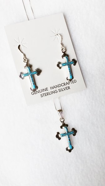 "Sterling silver turquoise inlay cross with tip dangle earrings and 18"" sterling silver box chain necklace set. S085"