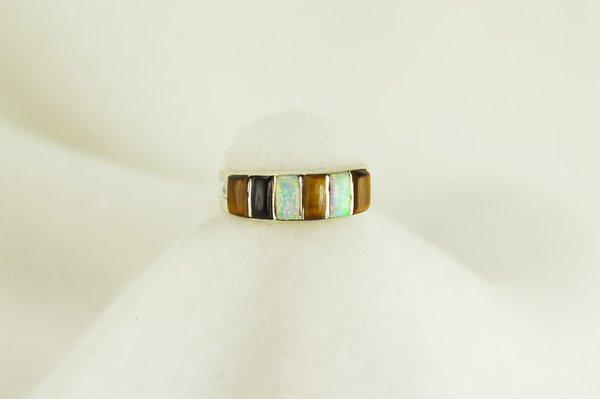 Sterling silver tiger eye, black onyx and white opal inlay ring. R039