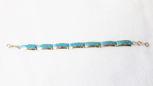 "Sterling silver blue opal inlay 8.25"" link bracelet. B003"