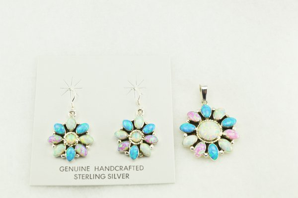 Sterling silver white, blue and pink opal flower earrings and pendant set. S161
