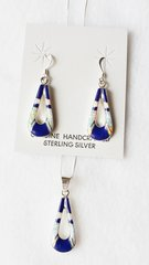 "Sterling silver white opal and lapis inlay hollow teardrop dangle earrings and 18"" sterling silver box chain necklace set. S036"