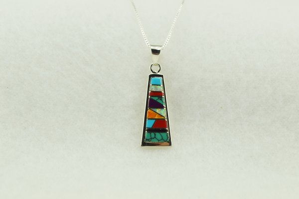 "Sterling silver multi color inlay tall triangle pendant with sterling silver 18"" box chain. N277"