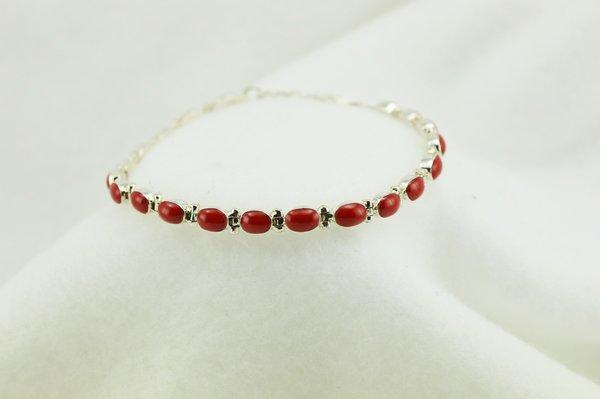 """Sterling silver coral oval link 7.5"""" bracelet. B069"""