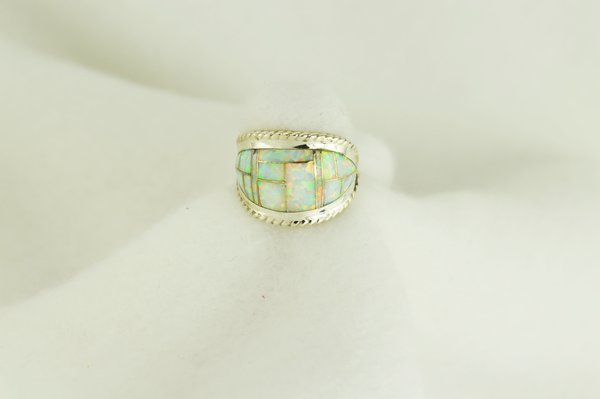 Sterling silver white opal inlay ring. R026