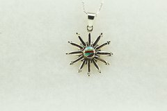 "Sterling silver multi color inlay sun pendant with sterling silver figaro 18"" chain. N135."