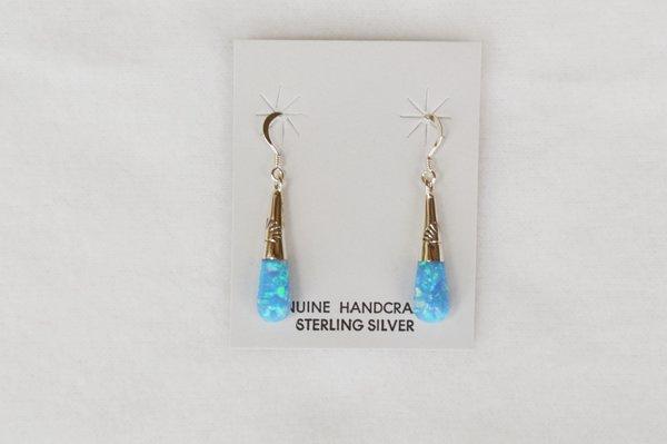 Sterling silver blue opal drop dangle earrings. E105