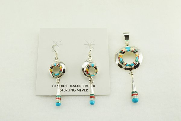 Sterling silver multi color inlay oval with drop down earrings and pendant set. S145