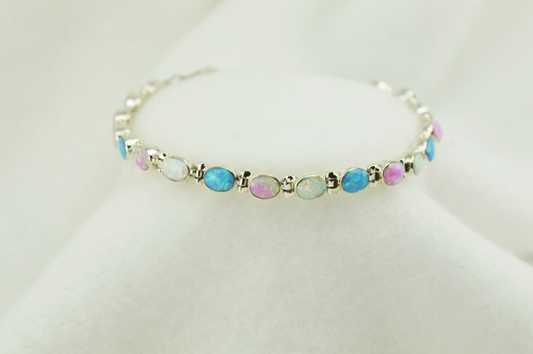 "Sterling silver white, pink and blue opal oval link 7.25"" bracelet. B081"