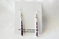 Sterling silver and sugilite stick dangle earrings. (E045)