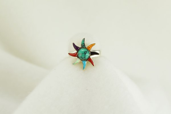 Sterling silver multi color inlay ring. R032