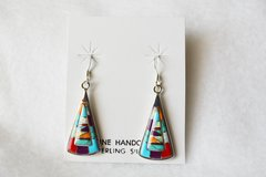 Sterling silver multi color inlay large candy corn shaped dangle earrings. E096