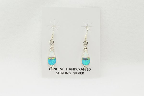 Sterling silver blue, pink and white opal inlay medium teardrop dangle earrings. E138