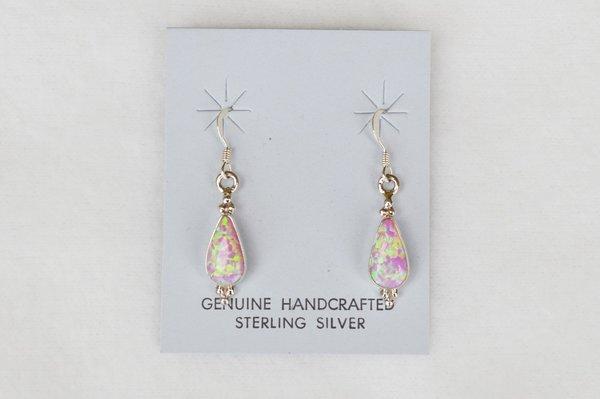 Sterling silver pink opal teardrop dangle earrings. E111