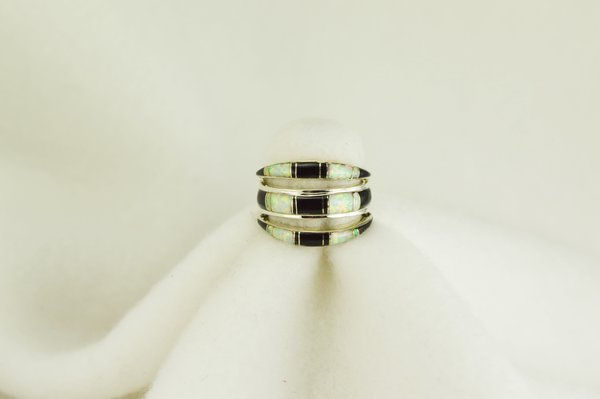 Sterling silver black onyx and white opal inlay ring. R003