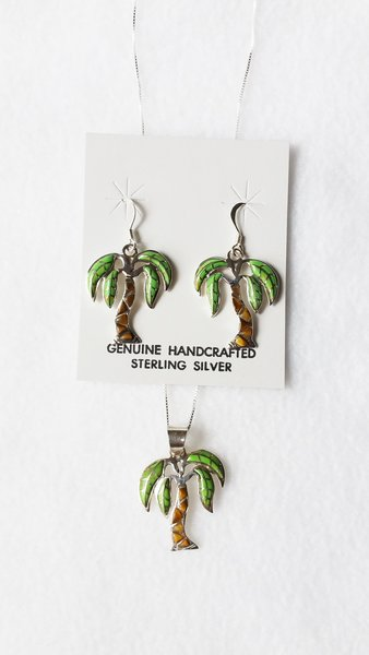 """Sterling silver gaspeite and tiger eye inlay palm tree dangle earrings and 18"""" sterling silver box chain necklace set. S063"""