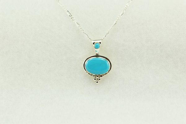 """Sterling silver turquoise oval pendant with sterling silver 18"""" figaro chain. N204"""
