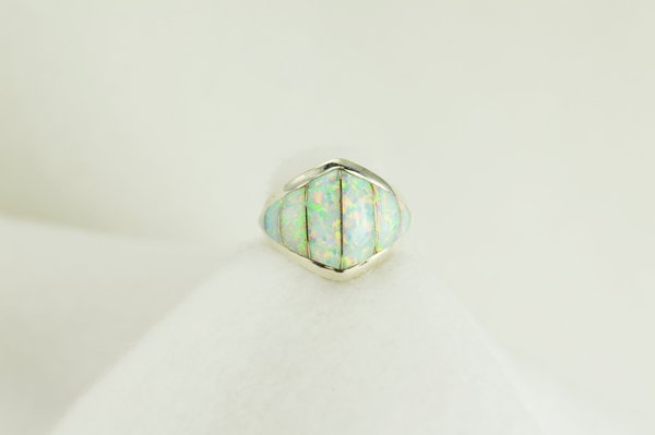 Sterling silver white opal inlay ring. R022