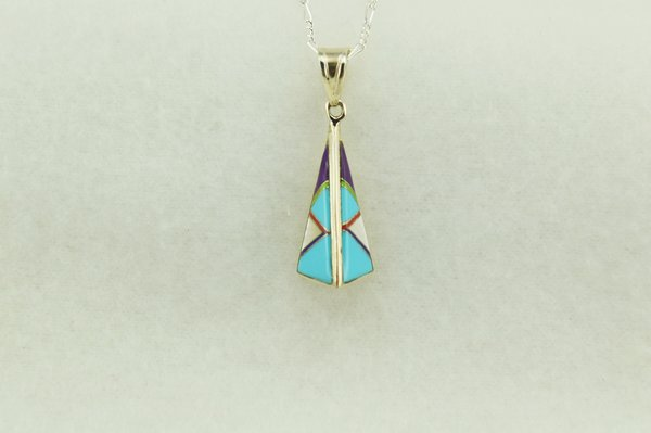 """Sterling silver multi color two sided pyramid pendant with sterling silver 18"""" figaro chain. N157"""