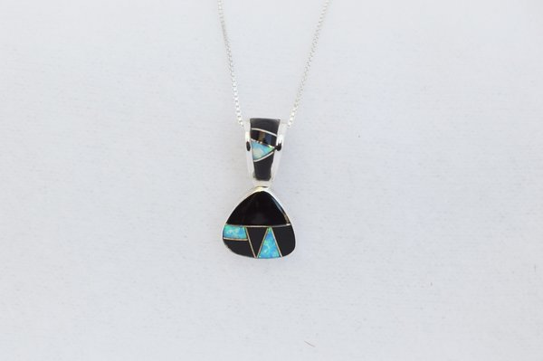 """Sterling silver black onyx and blue opal inlay pick shaped pendant with sterling silver 18"""" box chain. N282"""