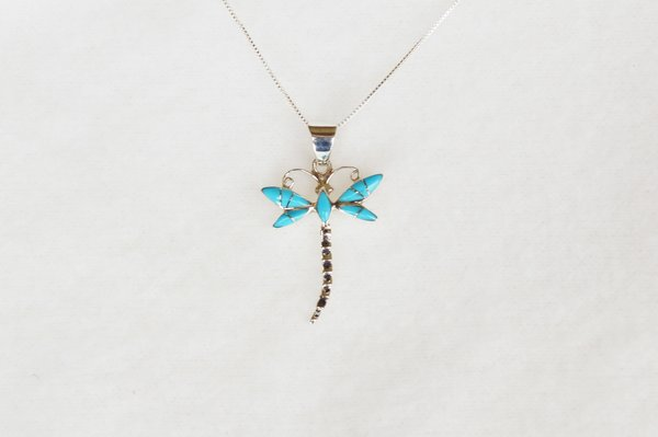 "Sterling silver turquoise inlay dragonfly pendant with sterling silver 18"" box chain. N078."