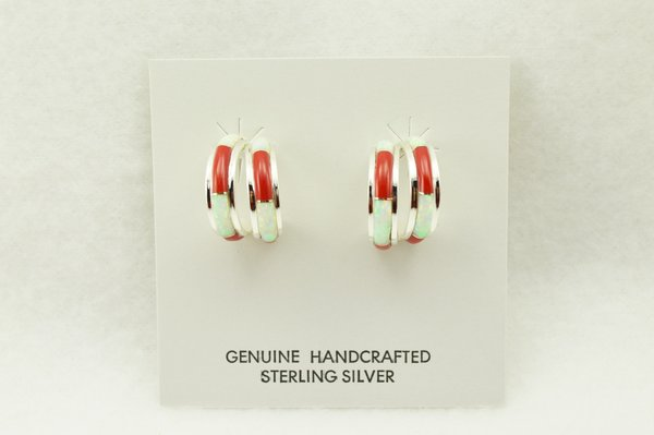 Sterling silver white opal and coral inlay double hoop post earrings. E359
