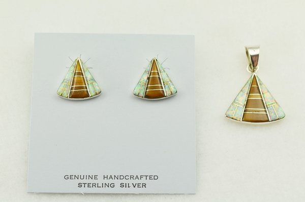 Sterling silver white opal and tiger eye inlay triangle shaped earrings and pendant set. S231